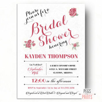 Floral Bridal Shower Invitation Printable - Country Bridal Shower Invitation - Floral Bridal Shower Invites - Shabby Chic Bridal Shower