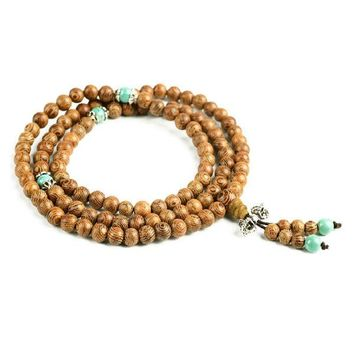 African Wenge Wood Mala Beads with Turquoise Spacers
