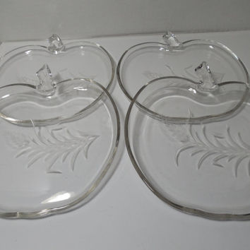FOUR Hazel Atlas Orchard Apple glass luncheon plates with etched wheat, vintage glass plates, glass plates, luncheon plates, Atlas glass