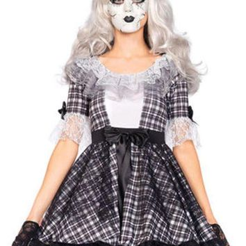 DCCKLP2 3PC.Pretty Porcelain Doll,dress,bow headband,face mask in BLACK/WHITE