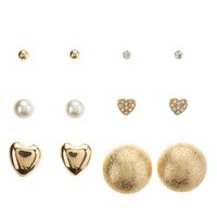 Gold Button & Heart Stud Earrings - 6 Pack by Charlotte Russe