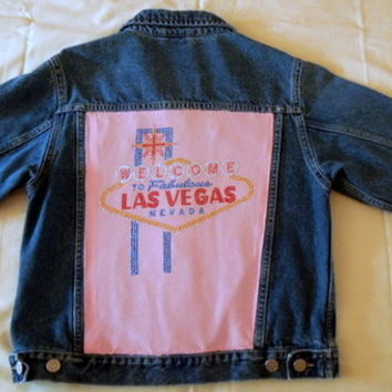 Kitsch Upcycled Denim Jacket Las Vegas Med 10-12