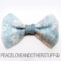 Handmade Vintage Denim & Lace Hair Bow by PeaceLoveAndOtherStuff