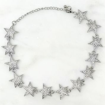 Star Power Crystal Bling Star Choker Necklace - Cosmic Silver