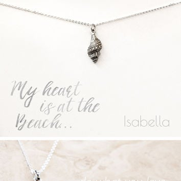 """My Heart is at the Beach"" Personalized Delicate Seashell Necklace"