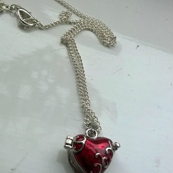 Gothic red and silver love heart locket necklace
