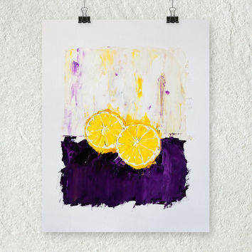 Lemon Painting, Yellow and Purple, Small Wall Art, Fruit Art, Original Oil Painting, Impasto Painting, Art on Paper, Kitchen Painting