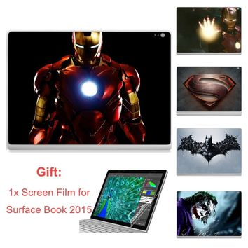 YCSTICKER - For Microsoft Surface Book 2015 Laptop Sticker Top Vinyl Decal Ironman Batman Skin & Screen Film for Surface Book