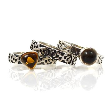 Sterling Silver Stack of 3 Rings with Smoky Quartz and Citrine Size 6
