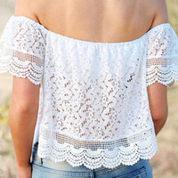 White Off-Shoulder Lace Cropped Top