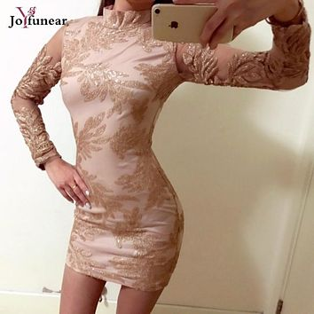 2017 Summer women elegant Embroidery sparkly sequined Dress Long Sleeve Slim Women's bodycon above knee Dresses hot vestidos
