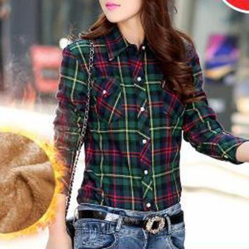 Winter Woman Cotton Lining Thick Shirt Casual Full Sleeve Stand Collar Loose Fleece Women Tops