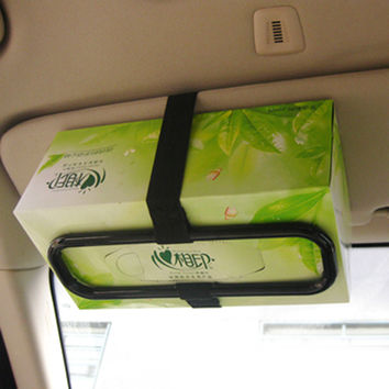 Sun Visor Black Tissue Box Holder, Car Seat Back Paper Napkin Holding Bracket Car Organizer car-styling 21x7cm