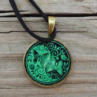Green Black Yin Yang Butterflies, Teen Jewelry