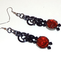 Red Rose Bead Dangle Chainmaille Earrings