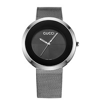 Gucci Fashion Metal Watchband G Surface Women Men Watch B-CTZL Silver