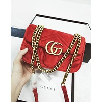 GUCCI tide brand female velvet wavy shoulder shoulder messenger chain bag