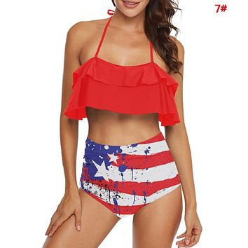 Fashion Summer New Star Stripe National Flag Print Lotus Leaf Side Wading Sports Swimsuit Straps Two Piece Bikini 7#