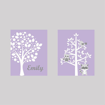Tree on Lavender with Name and Tree with Animals CUSTOMIZE YOUR COLORS 8x10 Prints Set of 2, nursery decor nursery print art baby room decor