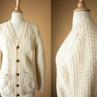 Vintage Irish Sweater | Cardigan Sweater Coat Ireland Ski Wool Cream Ivory 60s Sweater 70s Sweater Vintage Jumper Cable Knit Fisherman