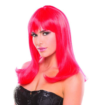 Red Solid Color Hollywood Bangs Wig