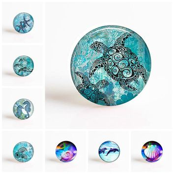 Sea Turtle Dolphin Seashells DIY Handmade Round Photo Glass Cabochons 25 Mm for Pendaant Making Fashion Jewelry Accessories