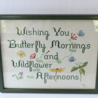Framed Cross Stitch Picture Butterflies and Wildflowers , Green Frame Picture Floral Embroidery , Cross Stitch Quote , Gift for Gardener