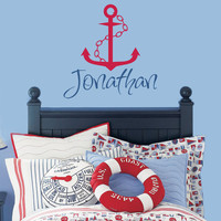 Personalized Vinyl Name Nautical Wall Decal - Sailboat Anchor & Chain - Baby Boy Nursery  Toddler Teen Room 22H x 22W BN002