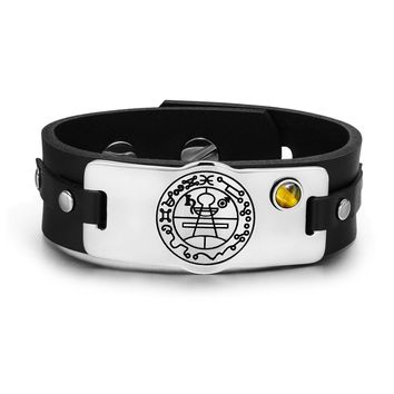 Secret Seal of Solomon Protection Magic Powers Amulet Tiger Eye Gemstone Leather Bracelet