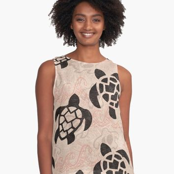 """Polynesian Turtle Tapa Print"" A-Line Dress by sunnthreads 