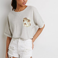 Palm Tree Cropped Sweatshirt
