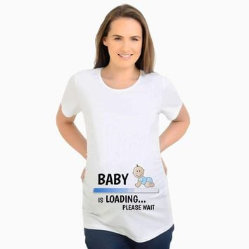 2017 Summer Designer Funny T shirts Pregnant Maternity BABY NOW LOADING T-Shirt Women Letter Print Casual Cotton Tshirt