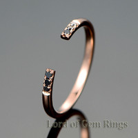 Black Diamond Wedding Band Unique Eternity  Anniversary Ring 14K Rose Gold