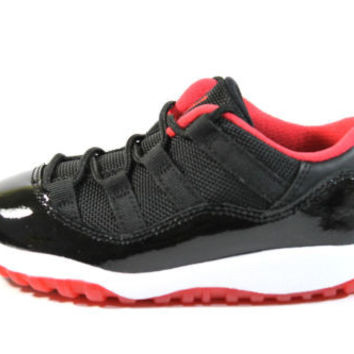 Jordan Boy's Retro 11 Low BT Black/True Red Shoes 505836 012 size 9c