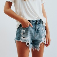Kaira High Rise Denim Shorts