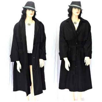 Vintage London Fog black trench coat L minimalist warm long black rain coat with liner size 14/16 SunnyBohoVintage