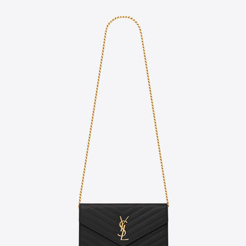 ysl tote bag - monogram saint laurent chain wallet in black grain de poudre ...