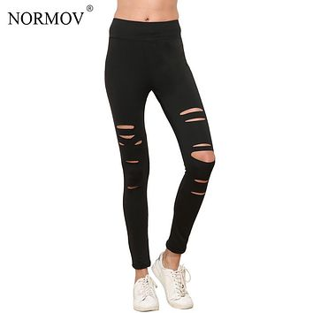 NORMOV S-XL Women Push Up Ripped Leggings Adventure Time Black Leggins Workout Hollow Out Breathable Slim Leggings Women