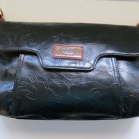 Large Clutch Purse Black Floral Embossed with Tan Accent Gigi Hill