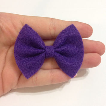 Mini Purple Felt Hair Bow on Alligator Clip - 2.5 Inches Wide - AFFORDABOW Line - Affordable and High Quality Hair Bows