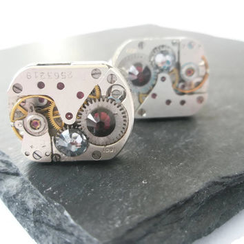 Wedding Watch Movement Cufflinks Steam punk up-cycled Mechanical industrial mens groom best man dad Smoke Grey Burgundy  swarovski