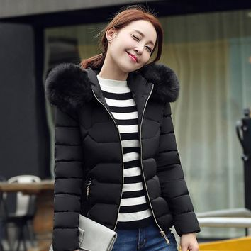 New big fur hooded winter jacket women parka big size solid color coat for women thick soft abrigos de piel mujer femme MZ930