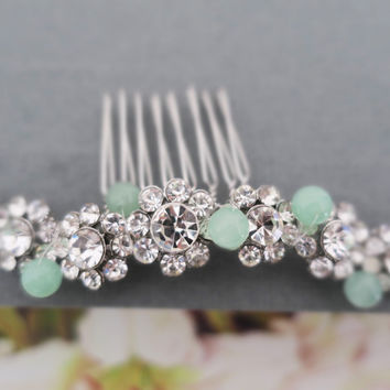 Mint Weddings Hair Comb, Crystal Flower Mint Hair Accessories | LaLaMooD