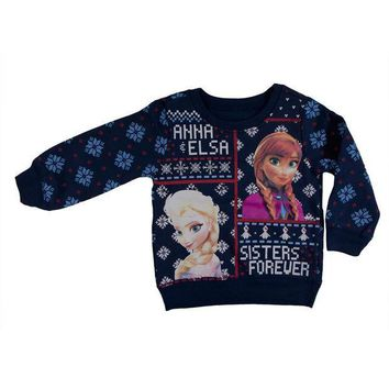 CREYON Frozen - Sisters Forever Toddler Ugly Christmas Sweater Blue Sweatshirt