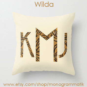 "Monogram Personalized Custom Pillow Cover ""Wilda"" 16"" x 16"" Couch Art Bedroom Room Fancy Decor Initials Name Girls Cream Taupe Tiger Stripes"