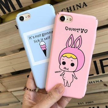 For iphone 7 case Kawaii Cartoon Phone Cover for Apple iphone 6 6s 6s plus 7plus Luxury Hard Plastic matte Mobile phone Shell
