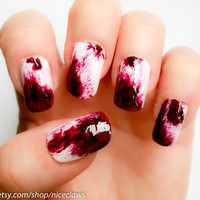 Blood Nails, Real Clot Effect Dexter Inspired Bloody Fake 3D Nails