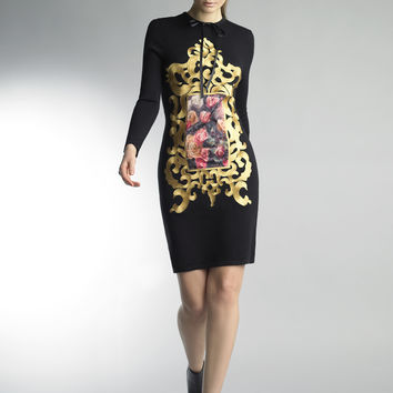 Historic New York Black and Floral Carnation Art Gallery Dress