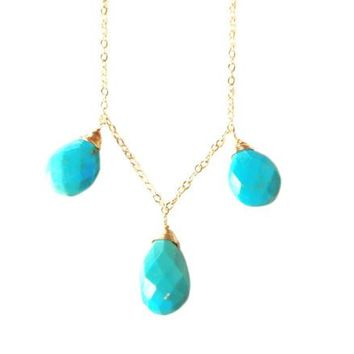 Bree Turquoise Triple Drop Necklace