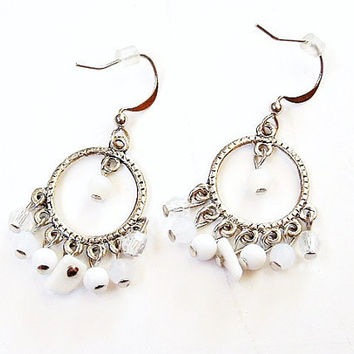 Vintage White Hoop Earrings Silver Dangles Egyptian Goddess Indian Princess Jewelry